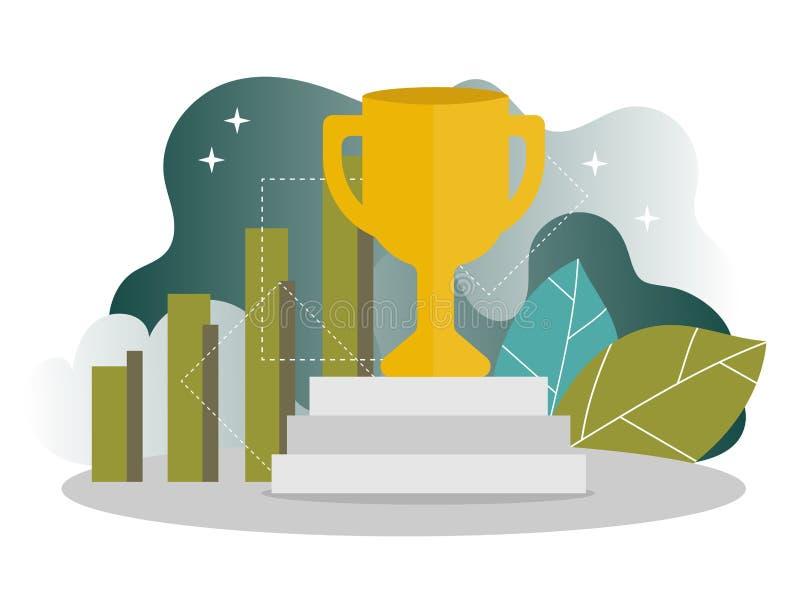 Affärsframgång - guld- vinnarekopp, begrepp av segern Modern plan design vektor illustrationer