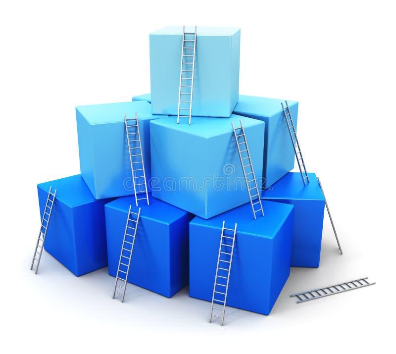 Affärsframgång, ledarskap och konkurrensbegrepp stock illustrationer