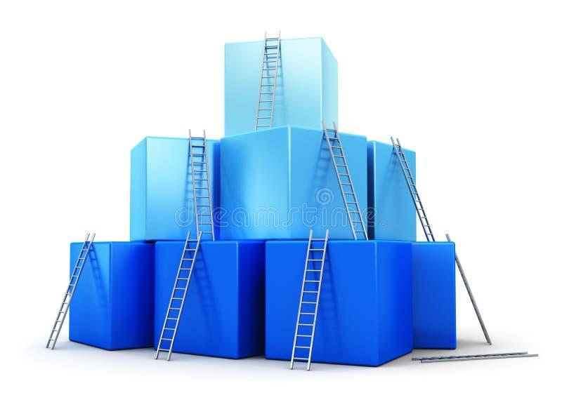 Affärsframgång, ledarskap och konkurrensconce stock illustrationer
