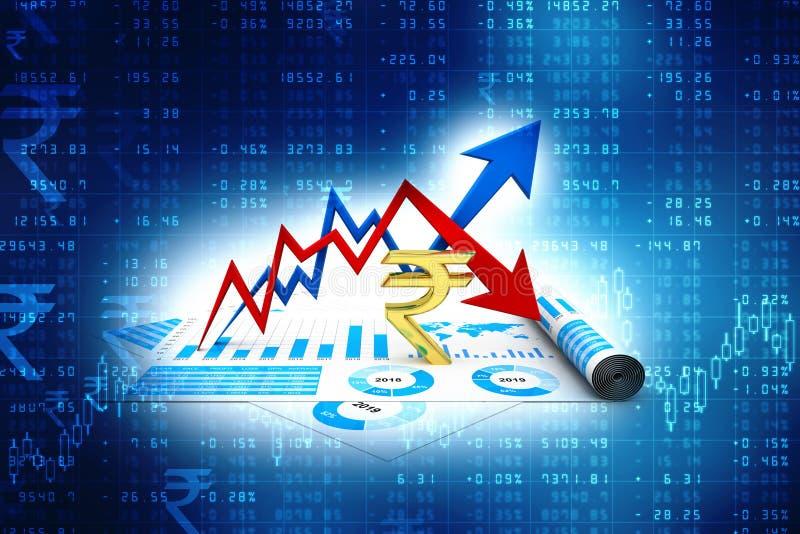 Affärsgraf med rupietecknet Tillväxt- och förlustbegrepp för indisk rupie 3d framför royaltyfri illustrationer