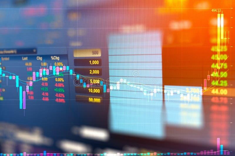 Affärsgraf och handelbildskärm av investeringen i guld- handel arkivbilder