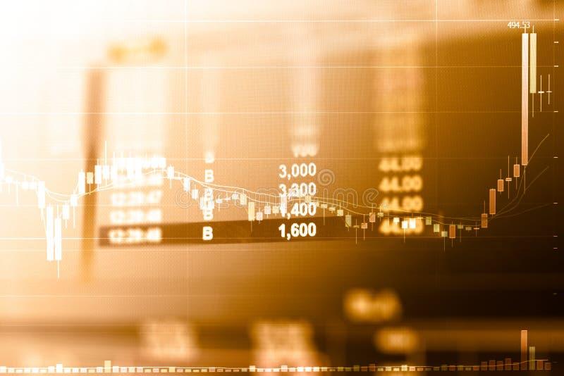 Affärsgraf och handelbildskärm av investeringen i guld- handel arkivbild