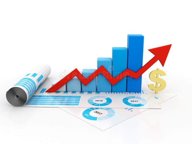 Affärsgrafen med dollaren undertecknar in vit bakgrund 3d framför vektor illustrationer