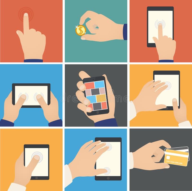 Affärshänder åtgärdar, pekare för att trycka på digitalt D stock illustrationer