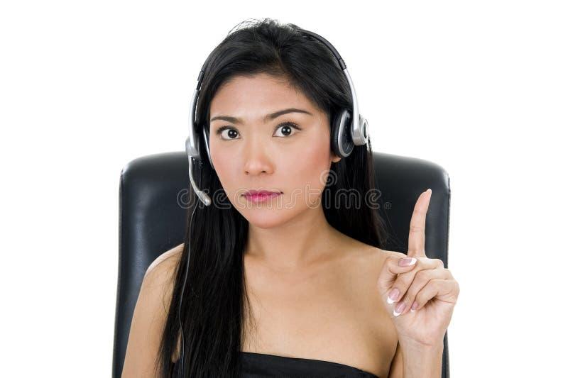 affärshörlurar med mikrofonkvinna arkivfoton
