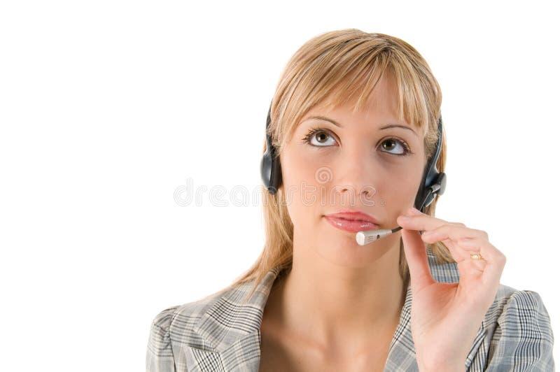 affärshörlurar med mikrofonkvinna arkivbild