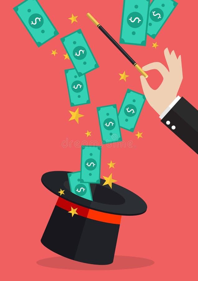 Affärshand med pengarflyg ut ur den magiska hatten stock illustrationer