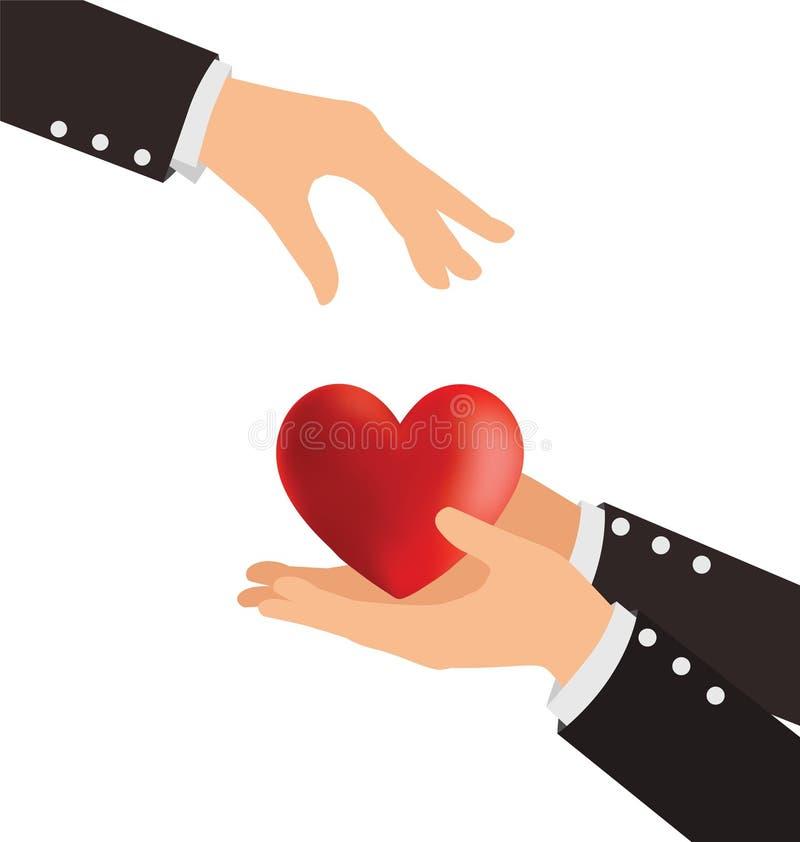 Affärshand som ger hjärta royaltyfri illustrationer