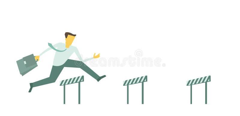 Affärshinderlöpningmannen hoppar övervinna de körande hindren för barriären stock illustrationer