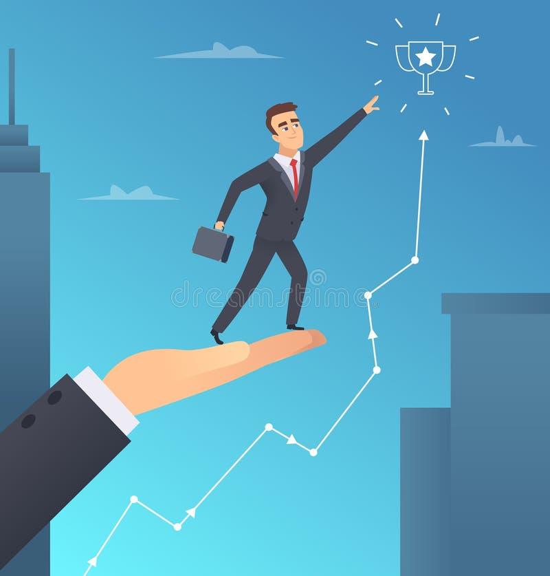 Affärshjälp Aktieägarehandhjälp till affärsmannen att lyckas och få belönat begrepp för vektor för inspirationkontorschef vektor illustrationer