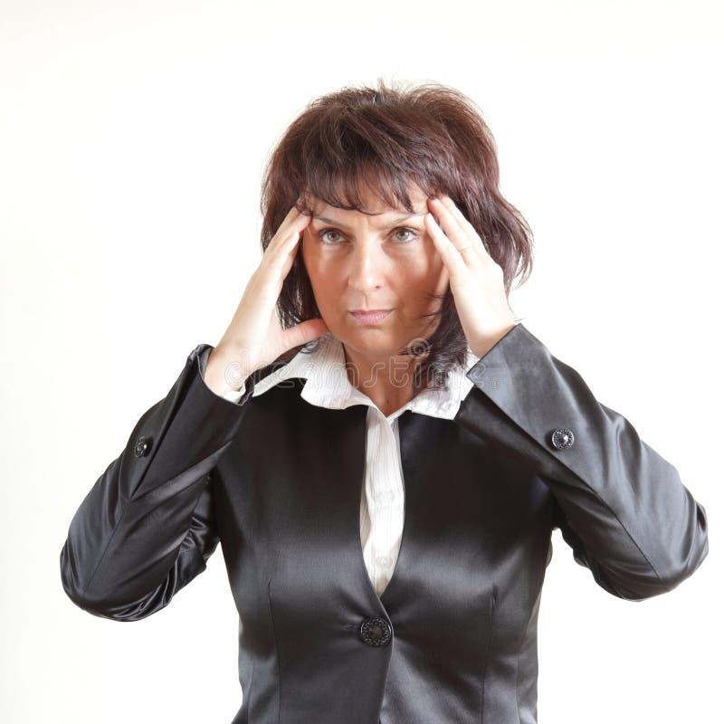 affärshuvudet håller kvinnan fotografering för bildbyråer