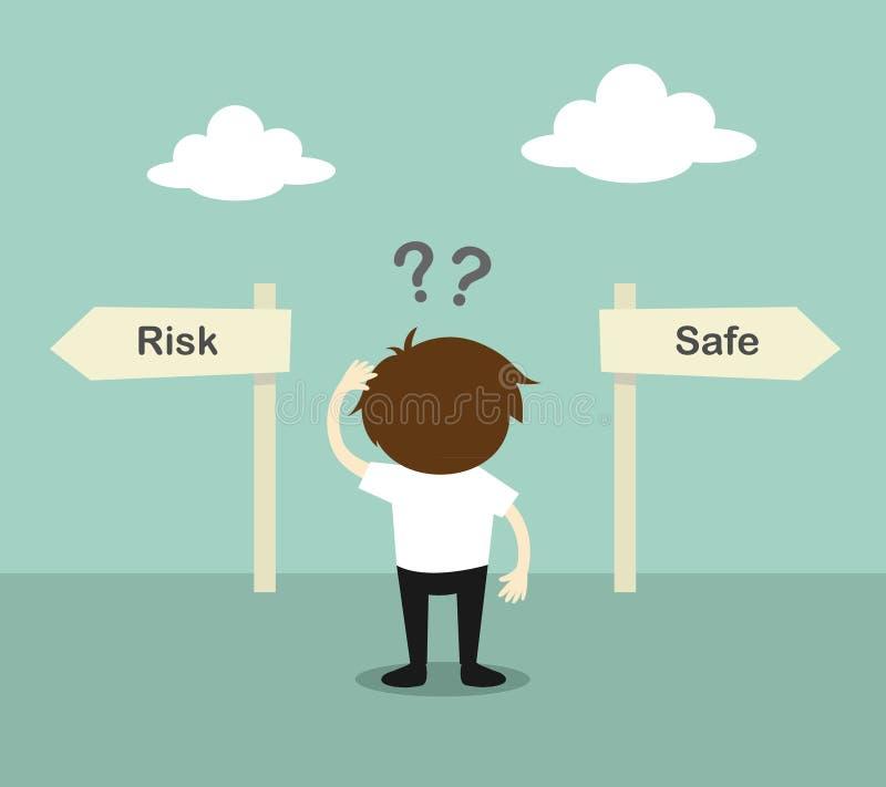 Affärsidé affärsman förvirrade omkring två riktning, mellan risken eller kassaskåpet också vektor för coreldrawillustration stock illustrationer
