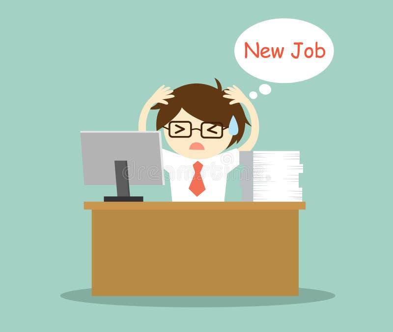 Affärsidé affärsmankänsla som är stressad och tänker om nytt jobb royaltyfri illustrationer