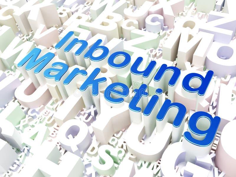 Affärsidé: Ankommande marknadsföring på alfabetbakgrund arkivfoton