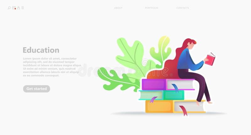 Affärsidé av att läsa en bok för effektiv utbildning stock illustrationer