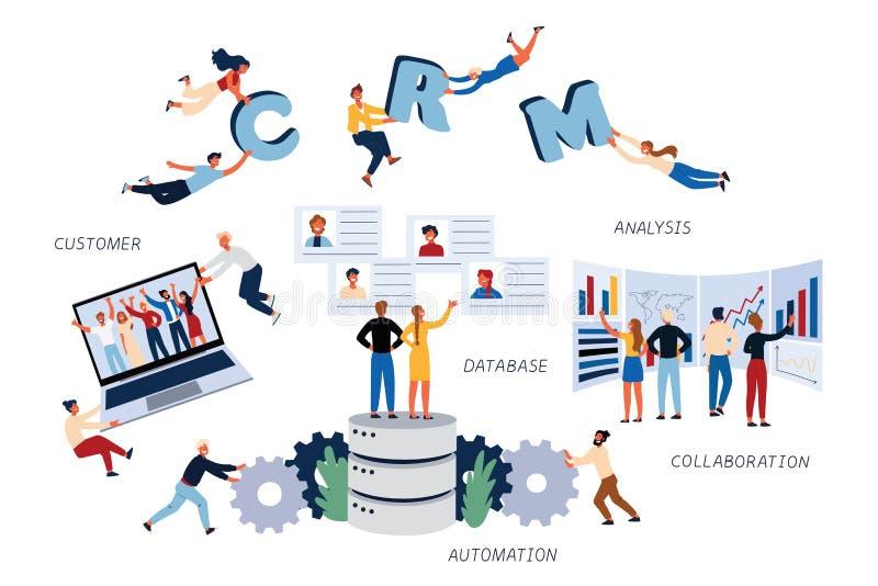 Affärsidé av CMR, kunden, analys, databas, samarbete, automation och ledning royaltyfri illustrationer