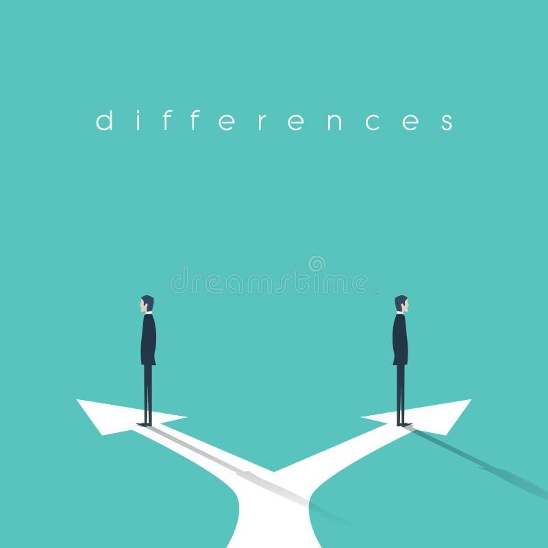 Affärsidé av konfrontation, olika åsikter och motsättning Två affärsmän som står i motsatta riktningar stock illustrationer