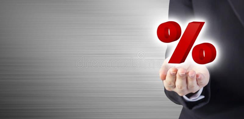 Affärsidé av procent på handen för affärskvinna arkivbilder