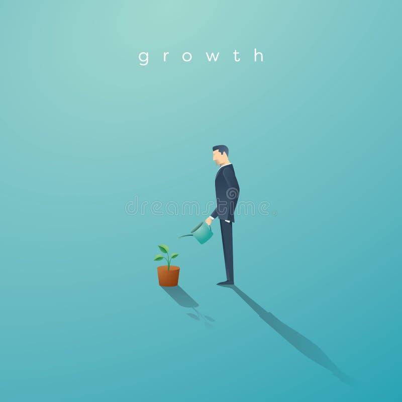 Affärsidé av tillväxt Affärsman som bevattnar den lilla gröna växten eller trädet Symbolframgång, framtid stock illustrationer
