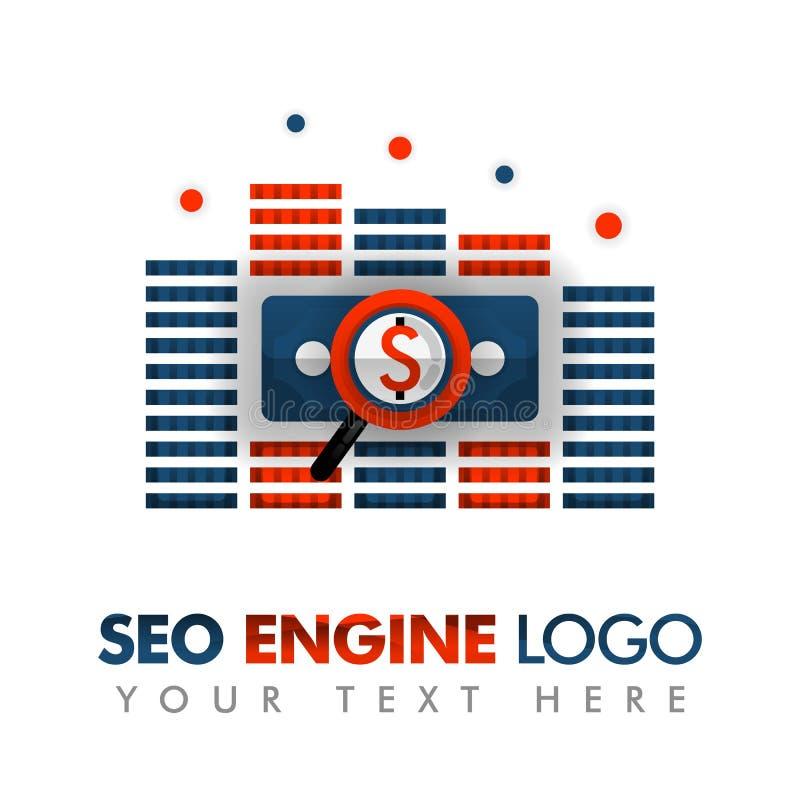 Affärsidé av vektorillustrationen SEO-logo, marknadsföringsstrategi, online-befordran, internetannonser och att annonsera, abstra vektor illustrationer