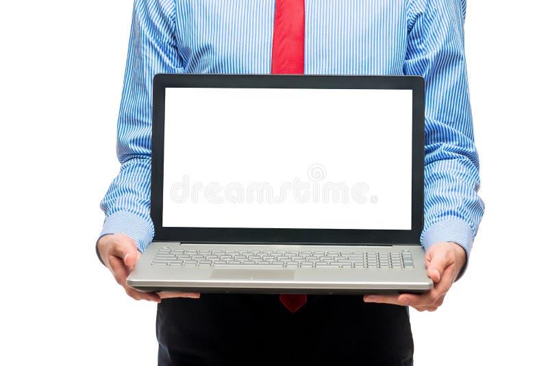 Affärsidé - bärbar dator med utrymme på skärmen för att skriva royaltyfri foto