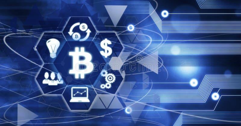 Affärsidé Bitcoin Cryptocurrency för Digital bit, teknologi för innovationdatordata, Cryptocurrency framtidsbakgrund stock illustrationer