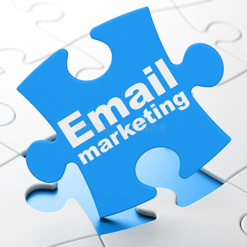 Affärsidé: Emailmarknadsföring på pusselbakgrund vektor illustrationer