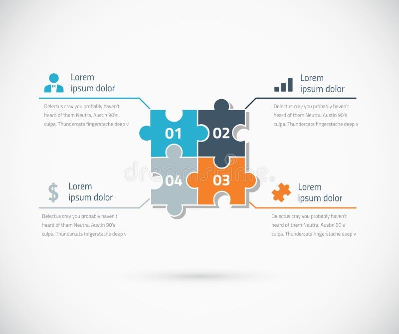 Affärsidé för alternativ för pusselstycke infographic vektor illustrationer