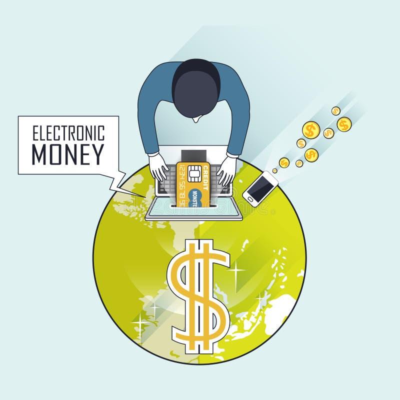 Affärsidé för elektroniska pengar royaltyfri illustrationer