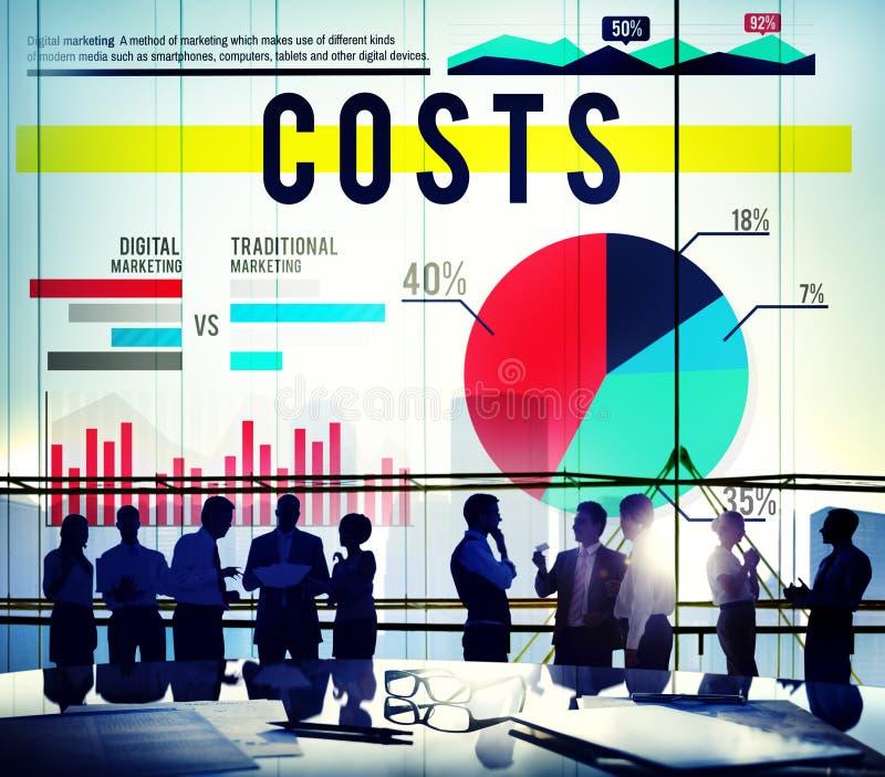 Affärsidé för frågor för finans för kostnadsbudget finansiell arkivfoto