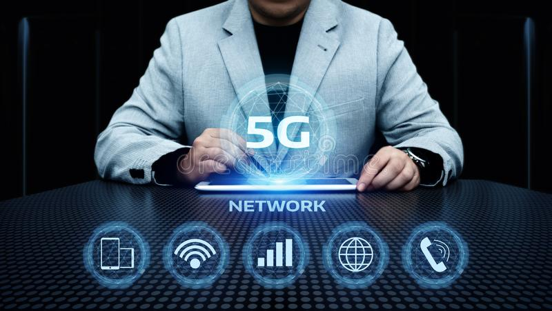 affärsidé för internet för nätverk 5G mobil trådlös arkivbilder