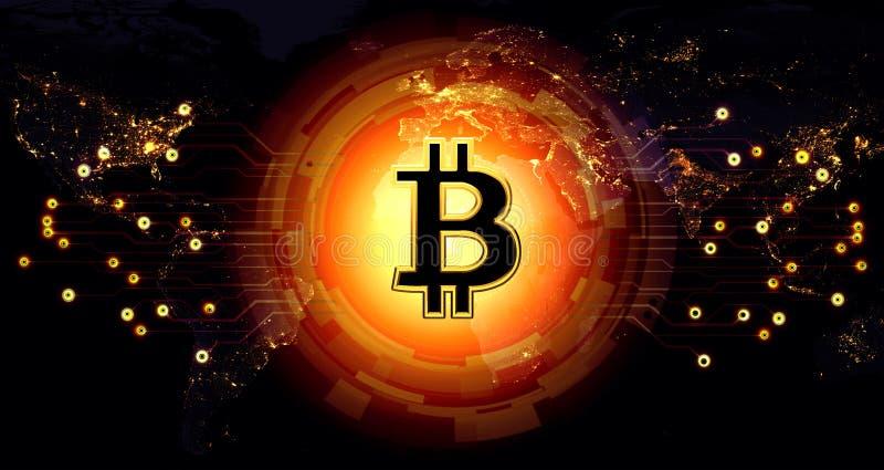 Affärsidé för nätverk Bitcoin för guld- pengar futuristisk med circ royaltyfri illustrationer