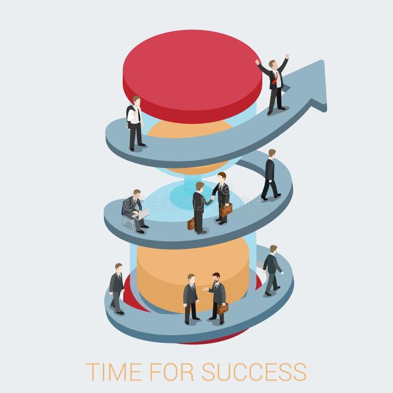 Affärsidé för rengöringsduk för Tid framgånglägenhet 3d isometrisk infographic stock illustrationer
