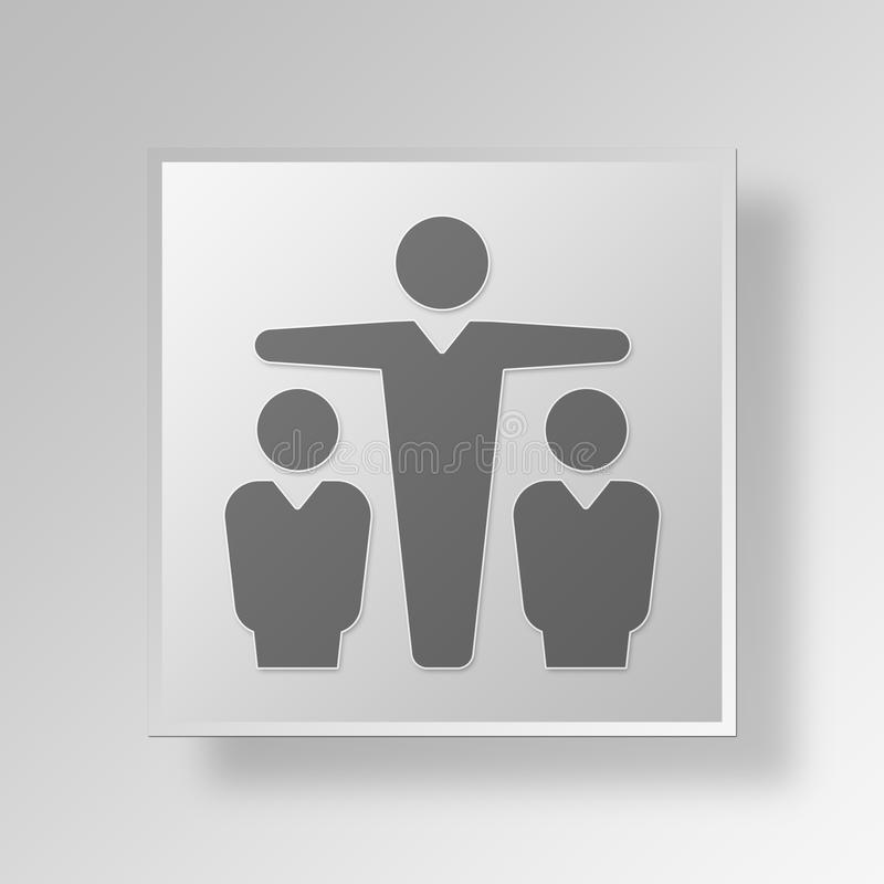 affärsidé för symbol för mellanhand för marknadsföring 3D royaltyfri illustrationer