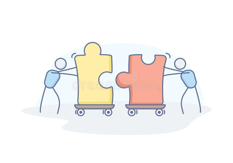 Affärsidé för teamwork, partnerskap, lösning, samarbete, service Design för vektorklotterillustration med pinnediagram vektor illustrationer