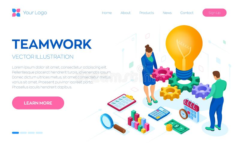 Affärsidé för teamwork, samarbete, partnerskap idérik idé Isometriskt idébegrepp Ljus kula med kugghjul vektor stock illustrationer