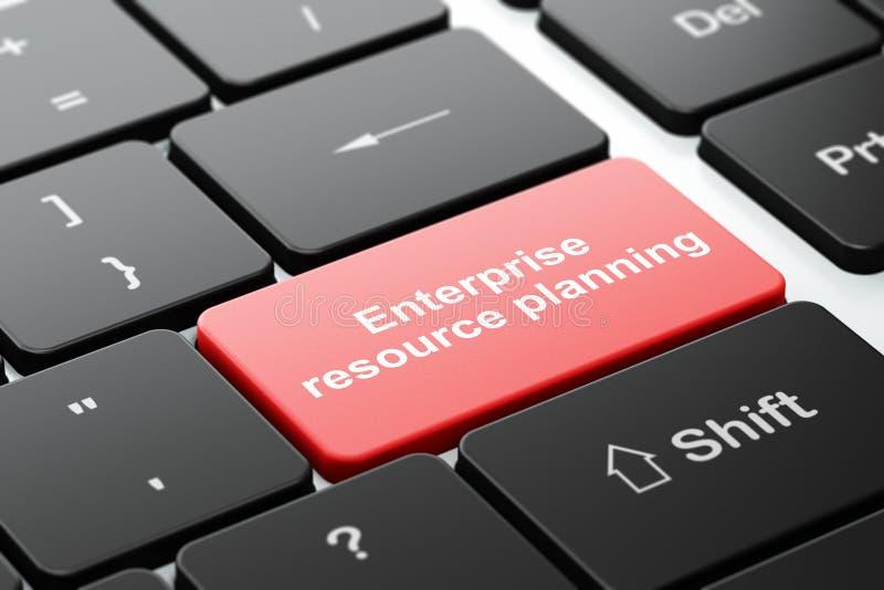 Affärsidé: Företagresursplanläggning på bakgrund för datortangentbord royaltyfri illustrationer