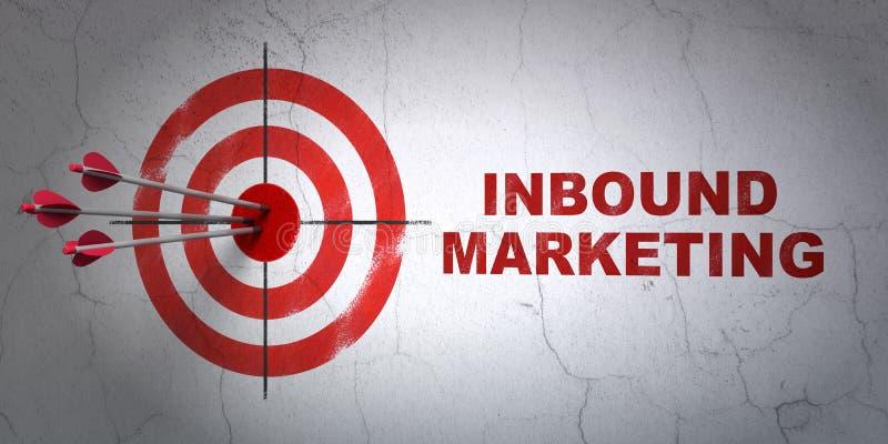 Affärsidé: mål och ankommande marknadsföring på stock illustrationer