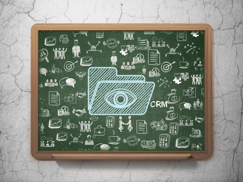 Affärsidé: Mapp med ögat på skolförvaltningbakgrund royaltyfri illustrationer