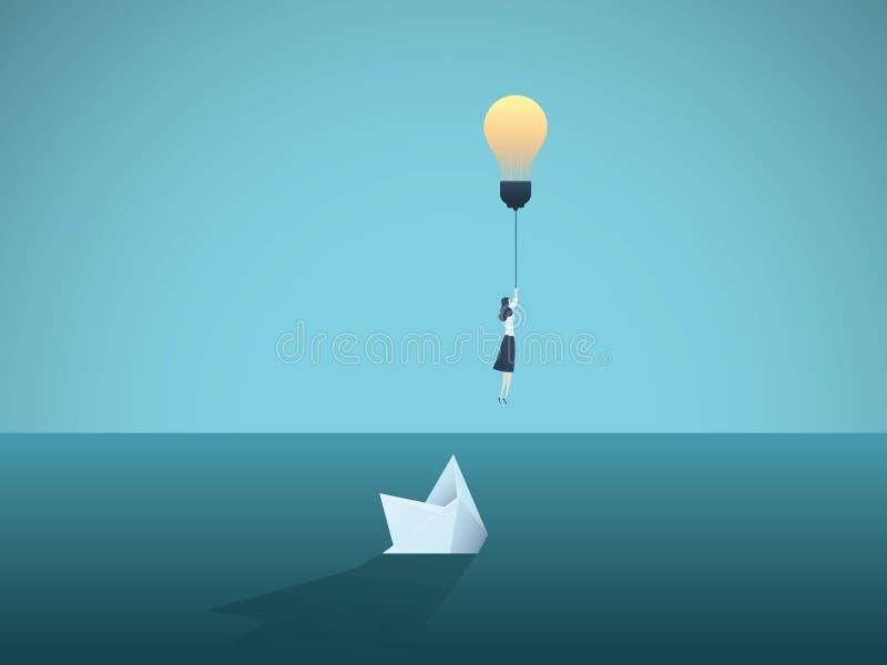 Affärsidé- och kreativitetvektorbegrepp med affärskvinnaflyg i väg från att sjunka pappersfartyget Symbol av innovation stock illustrationer