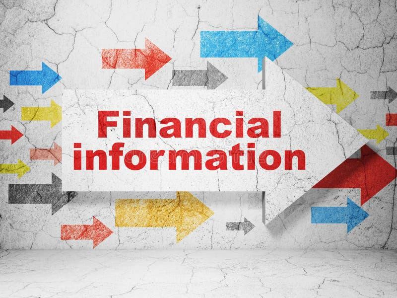 Affärsidé: pil med finansiell information på grungeväggbakgrund vektor illustrationer
