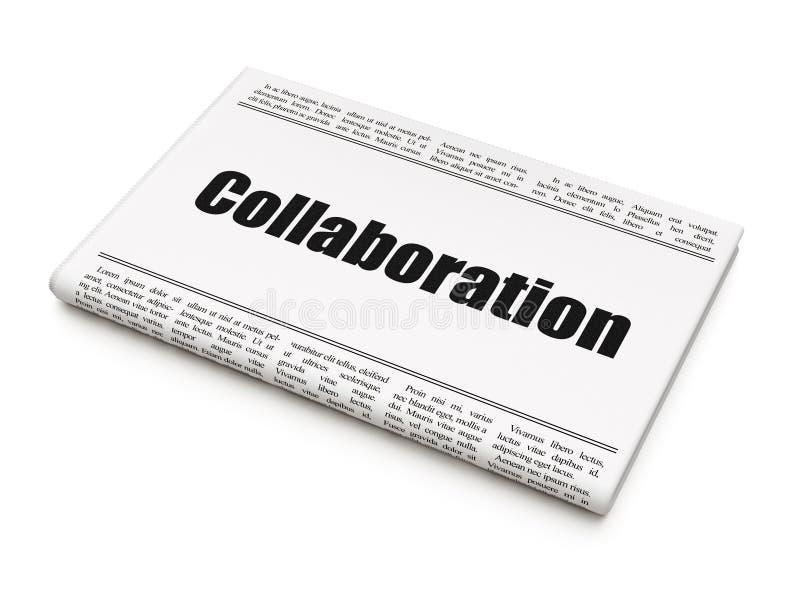 Affärsidé: samarbete för tidningsrubrik stock illustrationer
