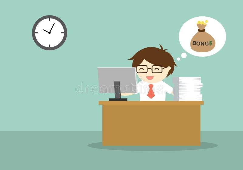 Affärsidé som sent arbetar på hans skrivbordkassalåda, därför att han förväntade för bonus royaltyfri illustrationer