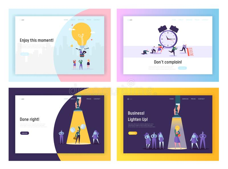 Affärsidé, stopptid, uppsättning för mallar för sida för framgångWebsitelandning Businesspeople som i regeringsställning arbetar  royaltyfri illustrationer