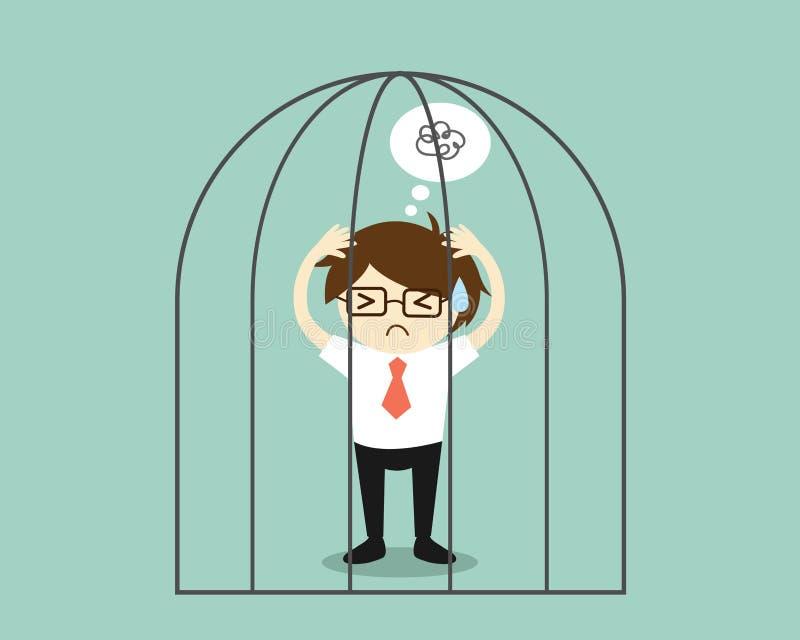 Affärsidé stressad affärsman i arresten royaltyfri illustrationer