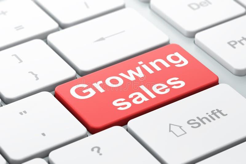 Affärsidé: Växande försäljningar på bakgrund för datortangentbord royaltyfri illustrationer