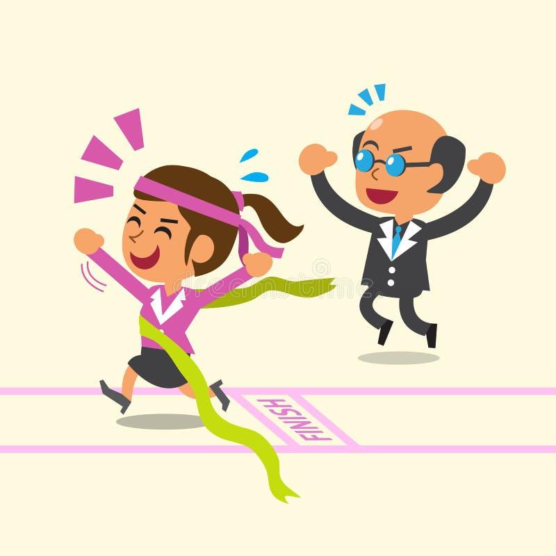 Affärsidéaffärsframstickande som arbeta som privatlärare åt en affärskvinna för att vara vinnaren royaltyfri illustrationer