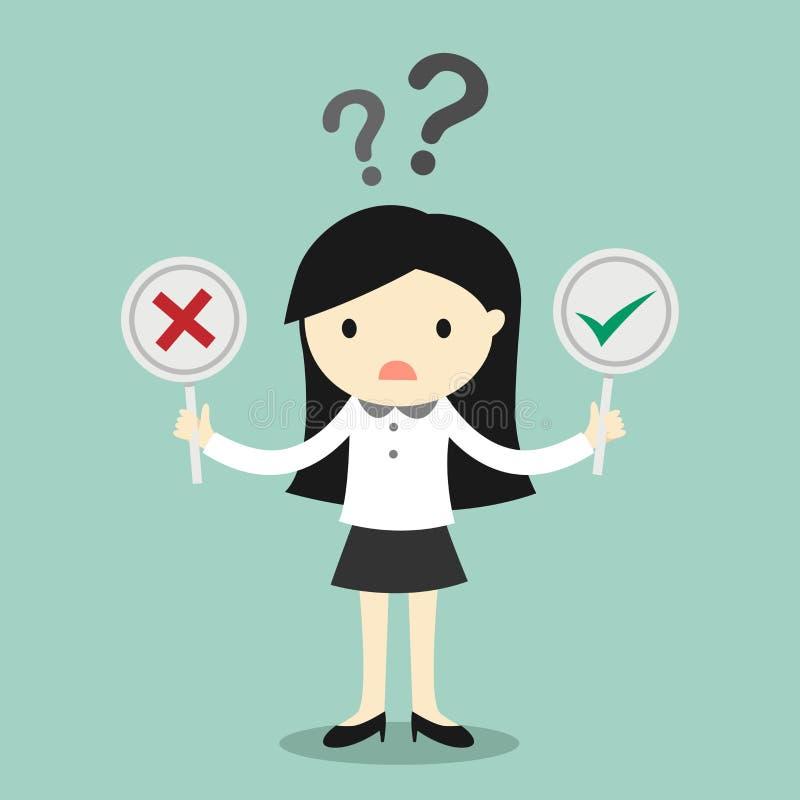 Affärsidéen affärskvinna är förvirrad om riktigt eller falskt vektor illustrationer