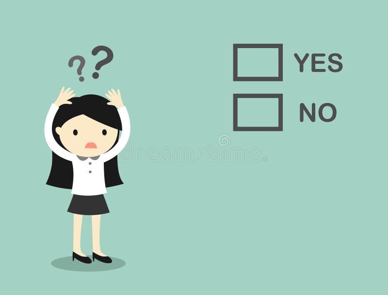 Affärsidéen affärskvinna förväxlar om 'ja' och 'inte', royaltyfri illustrationer