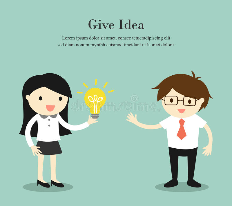 Affärsidéen affärskvinna ger hennes idé till affärsmannen också vektor för coreldrawillustration vektor illustrationer